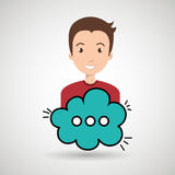 Man cartoon cloud speack chat Stock Image