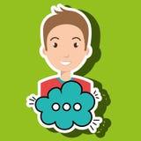 Man cartoon cloud speack chat. Man cartoon cloud blue speack chat  illustration eps 10 Stock Images