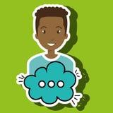 Man cartoon cloud speack chat Stock Photography