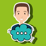 Man cartoon cloud speack chat Royalty Free Stock Images