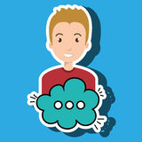Man cartoon cloud speack chat Royalty Free Stock Photography