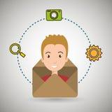 man cartoon email camera search Royalty Free Stock Photo