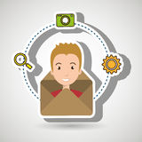 man cartoon email camera search Royalty Free Stock Images