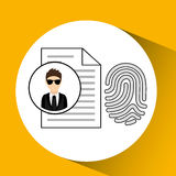 Man cartoon fingerprint file digital technology security Royalty Free Stock Photo