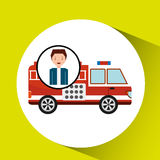 Man cartoon firetruck icon graphic. Vector illustration eps 10 Royalty Free Stock Images
