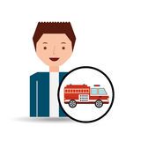 Man cartoon firetruck icon graphic. Vector illustration eps 10 Royalty Free Stock Photography