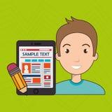 Man cartoon smartphone sample test. Illustration eps 10 Stock Photo