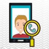 man cartoon smartphone telephone search Royalty Free Stock Photography