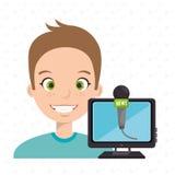 man cartoon speak microphone Royalty Free Stock Images