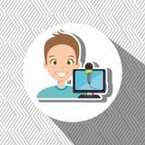man cartoon speak microphone Stock Images