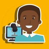 Man cartoon speak microphone Stock Photography