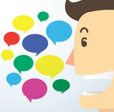 Man cartoon talk and chat box background vector Royalty Free Stock Photos