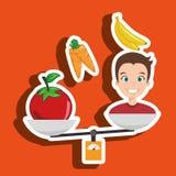 man cartoon vegetable organic balance Royalty Free Stock Photo