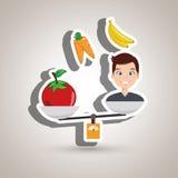 man cartoon vegetable organic balance Royalty Free Stock Images