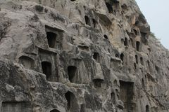 Man-carved grottoes in Luoyang, China Royalty Free Stock Photo