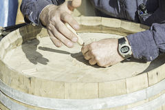Man carving chisel Royalty Free Stock Photos