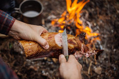 Man carving grilled rabbit meat in forest camp. Top view. royalty free stock photos