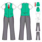 Man cashier or seller clothes. The suit of the cashier or seller (waistcoat, shirt, tie, trousers) isolated on white. EPS8 file available Royalty Free Stock Image