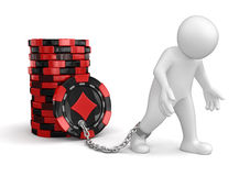 Man and Casino chip stacks (clipping path included) Stock Photo