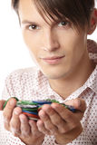 Man with casino chips Royalty Free Stock Photography