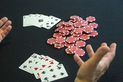 A man with casino chips Stock Images