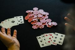 A man with casino chips Royalty Free Stock Photo
