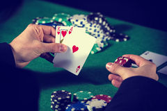 Man in casino with couple of ace and king Royalty Free Stock Image