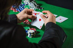 Man in casino with couple of ace and king Royalty Free Stock Images