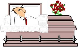 Man In A Casket. This illustration depicts a startled man sitting upright in a coffin Royalty Free Stock Photo
