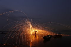 Man cast Fire steel wool Royalty Free Stock Photography