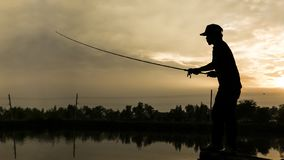 The man casting fishing rod
