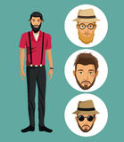 Man casual bearded hipster clothes-faces men royalty free illustration