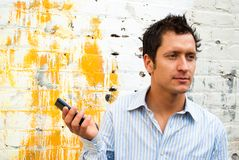 Man in Casual Business Attire. Talking on the Phone Outside Royalty Free Stock Images