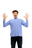 Man in casual cloth with raised hands up Stock Photography