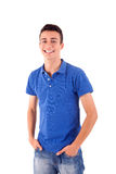 Man in casual clothes. Portrait of handsome young man in casual clothes standing over white background Stock Images