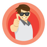 Man in casual clothes, thumbs up Royalty Free Stock Photography