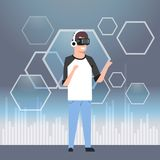 Man In Casual Clothes Wearing Modern 3d Glasses Virtual Reality Headset Concept. Flat Vector Illustration Royalty Free Stock Image
