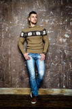 Man in casual clothes. Young bearded man in casual sweater Royalty Free Stock Photos