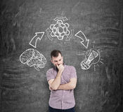 Man in casual shirt holds his chin and ponders on the best solution of the problem. The steps of the brainstorm process are Stock Images