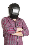 Man in casual wear, with a mask  and standing isolated on white Royalty Free Stock Photo