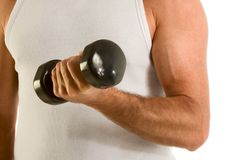 Man in casual wife-bitter a-top work out dumbbell Stock Photography