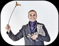Man with cat Royalty Free Stock Photo