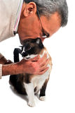 Man and cat Stock Images