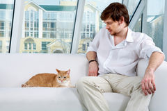 Man and a cat Royalty Free Stock Photography