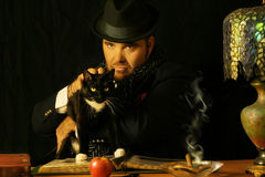 Man with cat stock image