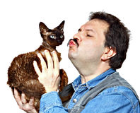 Man and cat Royalty Free Stock Photo