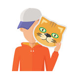 Man with Cat Mask Flat Design Vector Illustration. Boy character in sweatshirt and cap with cat mask in hand vector. Flat design. Masquerade animal clothing and Stock Image