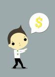 Man catch money. Businessman thinking about   i must make money Stock Photography