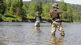Man catches fish in the river. man fishing with a rod and reel. stock video