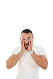 Man catches and holding his head with both hands Royalty Free Stock Images
